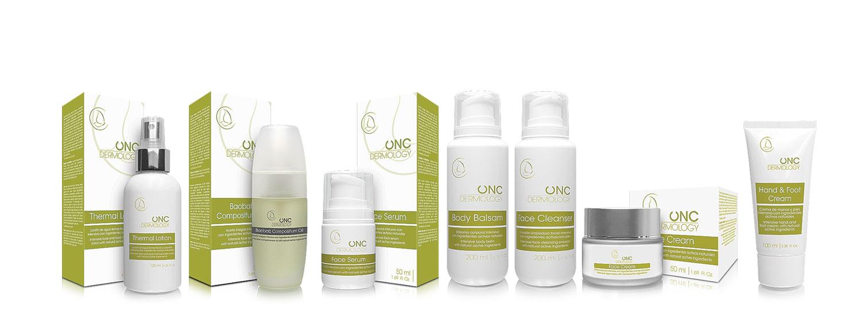 Bodegón de productos ONC Dermology